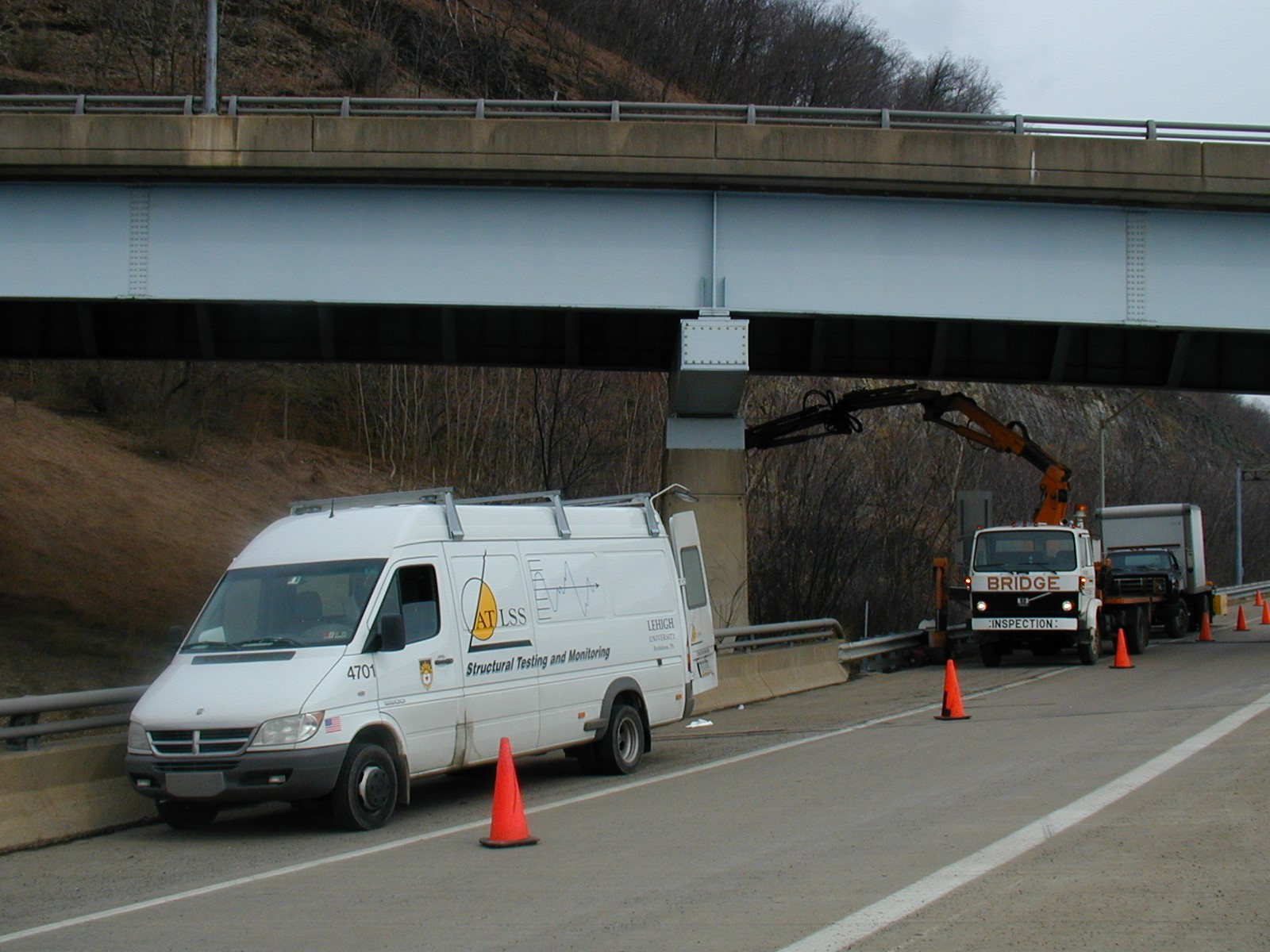 ATLSS vehicle under a bridge
